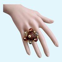 Vintage Vendome Gaudy Bead Adjustable Ring