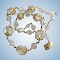 Vintage Vendome Lucite and Glass Crystal Necklace