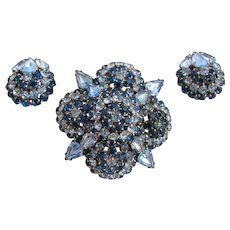 Vintage Warner Blue Rhinestone Flower Brooch and Earring Set