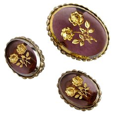 Vintage Whiting & Davis Rose Intaglio Brooch and Earring Set