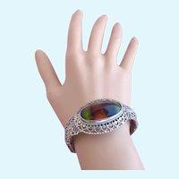 Vintage Whiting & Davis Silver Tone Rainbow Glass Clamper Bracelet