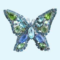 Vintage Weiss Blue Green Rhinestone Butterfly Brooch