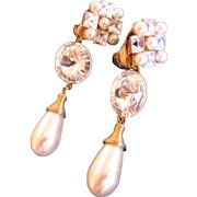 Vintage Wendy Gell Faux Pearl and Crystal Drop Earrings