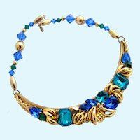 Vintage Wendy Gell Vivid Blue & Green Faceted Crystal Choker Necklace