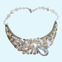 Vintage Wendy Gell Faux Pearl and Crystal Statement Choker Necklace