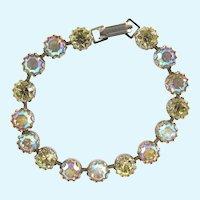 Weiss Yellow and Pink Aurora Borealis Rhinestone Bracelet