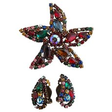 Vintage Weiss Jewel Colors Starfish Brooch and Earring Set