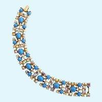 Vintage Weiss Faux Turquoise Rhinestone Bracelet