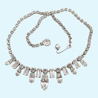 Vintage Weiss Clear Rhinestone Choker Necklace