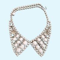 VIntage Weiss Milk Glass Rhinestone Bib Collar Necklace