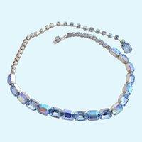 Vintage Weiss Rectangular Blue Rhinestone Choker Necklace