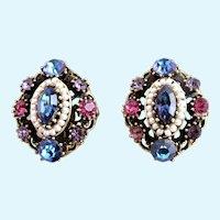Vintage Weiss Antiqued Metal Rhinestone Clip Earrings