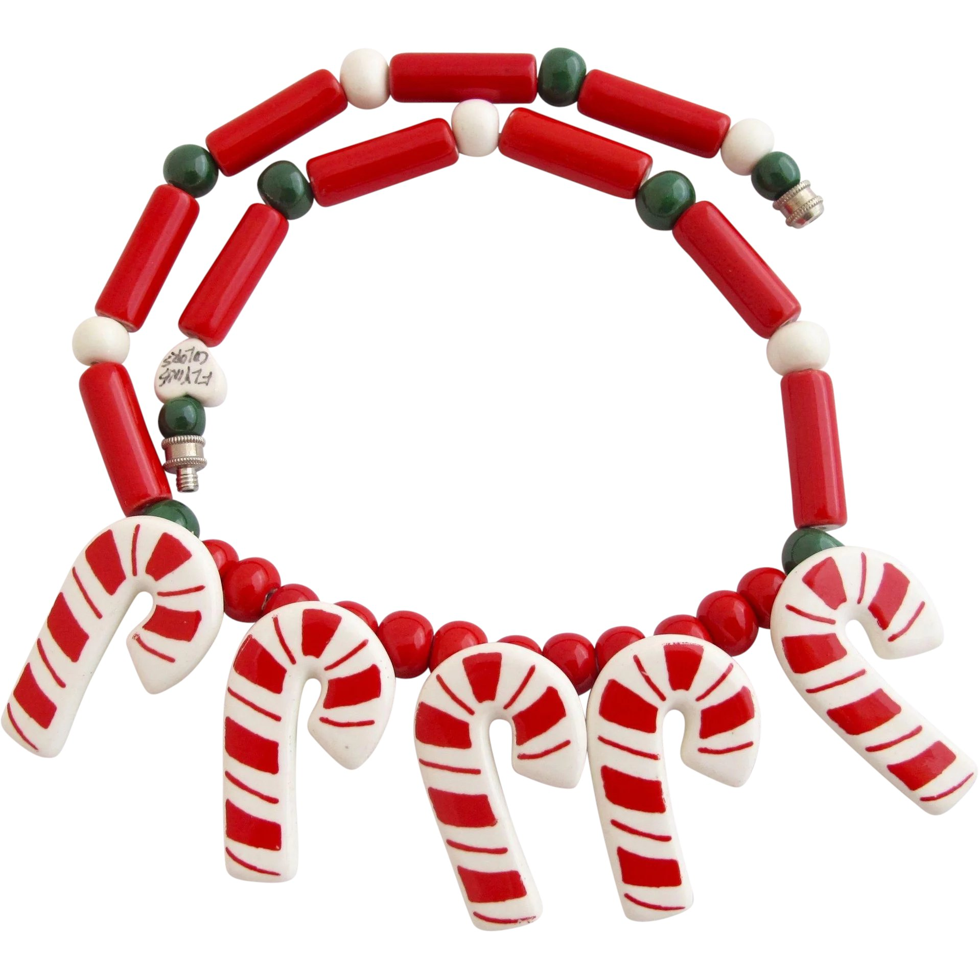 3143808ab024 Vintage Flying Colors Candy Canes Ceramic Necklace   2Hearts Jewelry    Accessories