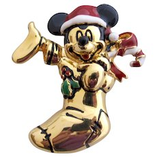 Vintage Napier Disney Mickey Mouse in a Stocking Pin