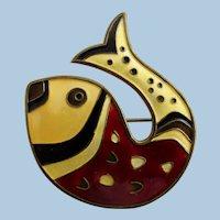 Vintage Norway Sterling Enamel Fish - David Andersen