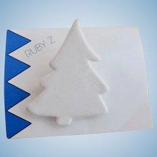 Vintage Ruby Z Snowy Winter White Ceramic Pine Tree - On Original Card