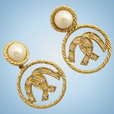 Vintage Yosca Lucky Horseshoes and Faux Pearl Drop Earrings - Clips