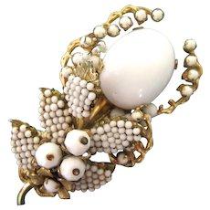 Vintage Eugene White Bead Flower Brooch