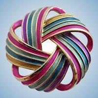 Vintage Kramer Enamel Ribbon Swirls Brooch