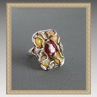Ring Sterling Silver Australian opals Ruby! Antique Look !