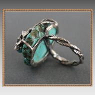 Art Deco style Ring Sterling Silver Turquoise One-Of-A-Kind
