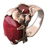 Ring Sterling Silver Two Rubies Mix Tourmalines ғʀᴇᴇ sʜɪᴘᴘɪɴɢ