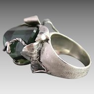 Sterling Silver Ring Huge Green Amethyst Ring