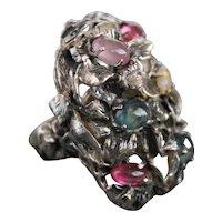 Renaissance  Style Ring Sterling Silver Mix  Sapphires ғʀᴇᴇ sʜɪᴘᴘɪɴɢ