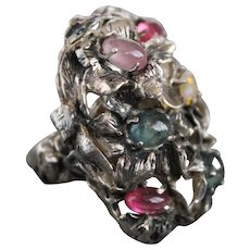 Renaissance  Style Ring Sterling Silver Mix  Sapphires Ring