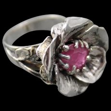 Ring Sterling Silver Facet Ruby - Red Tag Sale Item