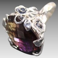 Ring Sterling Silver Vivacious Bi Color Purple&Gold Orange  Ametrine  Quartz
