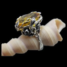 Ring Sterling Silver  Citrine Color Quartz - Red Tag Sale Item