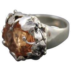 Peach Pink Morganite Color Quartz Ring Sterling Silver
