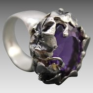 Facet Amethyst Ring Sterling Silver