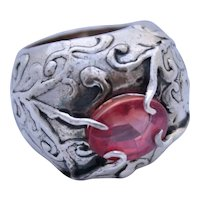 Ring Sterling Silver Red Star Sapphire