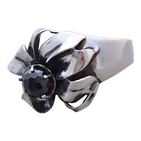Ring Sterling Silver Red  Garnet