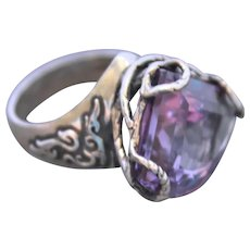 Sterling Silver Ring  Lab Corundum Color Change Alexandrite