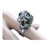 Sterling Silver Ring Huge Green Amethyst Ring Size 7