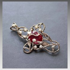 Sterling Silver Cross  Ruby Pearls