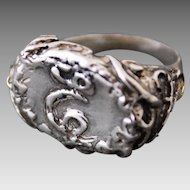 Sterling Silver Ring  Signet Initial E  free shipping