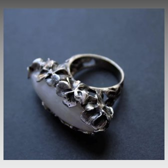 Oxidized Sterling Silver Ring Moonstone Ring