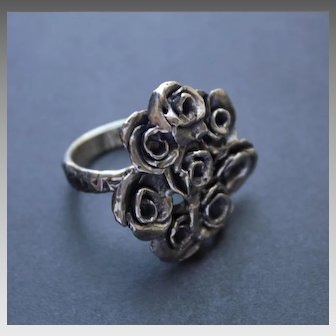 Oxidized Sterling Silver Ring Roses Ring Antique Look