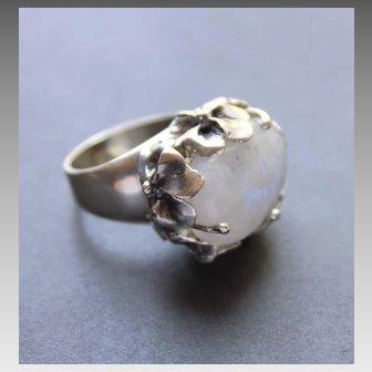 Sterling Silver Ring Huge Moonstone Ring