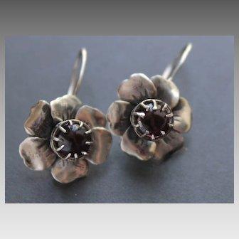 Sterling Silver Earrings Garnet Earrings