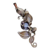 Pendant Sterling Silver  Color Change Alexandrite Pendant  Mother-of-pearl  Pendant