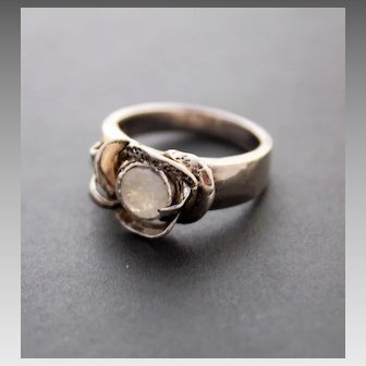 Sterling Silver Ring Facet Moonstone Ring 14 K Gold Ring