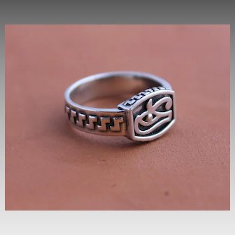 Mens Ring Sterling Silver Hanmade Epatage Studio Ring Eye of Horus
