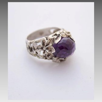 Sterling Silver Ring Facet Amethyst Ring Size 8