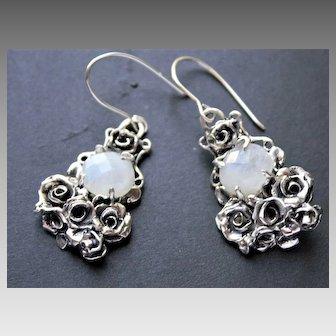 Earrings Sterling Silver Facet Moonstone Roses art nouveau style
