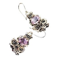 Earrings Sterling Silver Facet Amethyst Roses Earrings art nouveau style